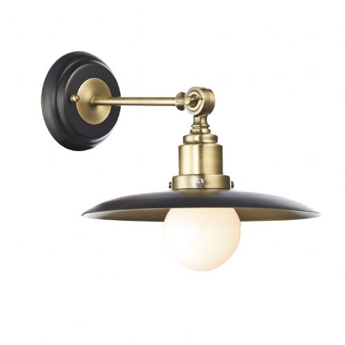 Hannover 1 Light Wall Bracket Black/Antique Brass (Class 2 Double Insulated) BXHAN0754-17